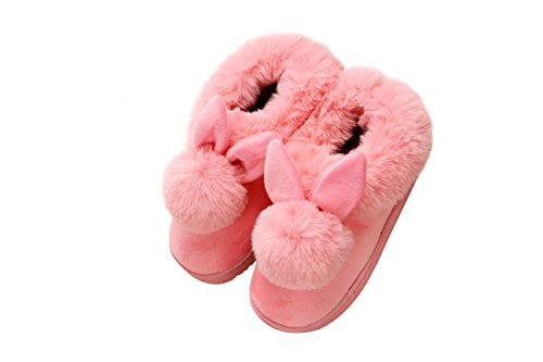 YOWOO Soft Plush Warm Bedroom Indoor Non Slip Slippers for Women Cute Bunny Style (Pale Pink M)