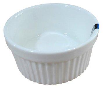 1 Dz White Glazed Fluted Porcelain Ramekins (8 oz 4