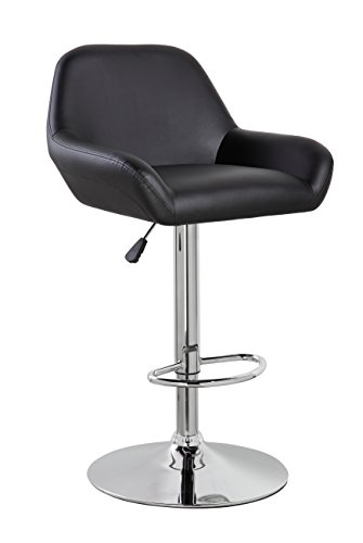 KERLAND PU Leather Modern Design Swivel Adjustable Seat Height Home Kitchen Bar Stool Chair With Padded Back And Chrome Footrest, Black (Back Design Stool Bar)