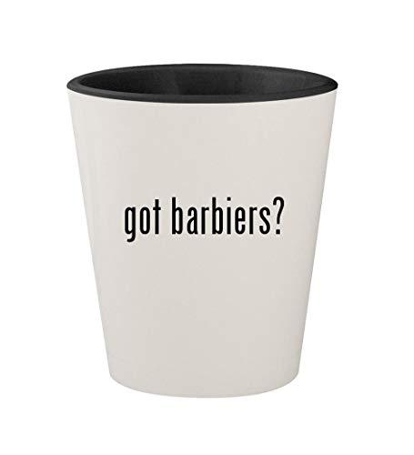 got barbiers? - Ceramic White Outer & Black Inner 1.5oz Shot Glass