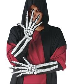 Skeleton Zombie Adult Mens Costumes (Skeleton Hand Gloves with Bone Sleeve)