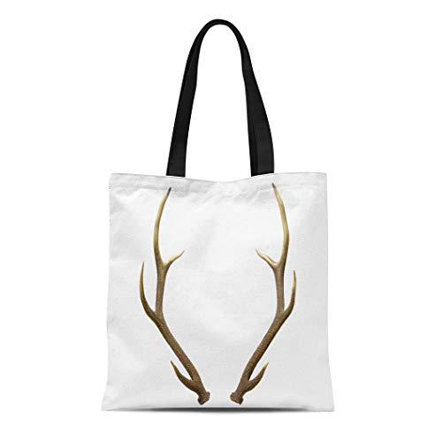Semtomn Canvas Tote Bag Elk Pair of Red Deer Antlers on Animals Beauty Durable Reusable Shopping Shoulder Grocery Bag