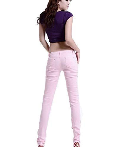 Tinta Pantaloni Tasche 20 Vita Matita Denim Da A Alta Moda Frontali Pink In Unita Anni Casual Skinny Jeans Donna qx1zFwXnO
