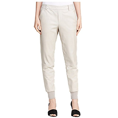 Vince Women's 100% Lamb Leather Jogging Joggers Track Sweatpants Design Pants (Beige, Large) by Vince (Image #5)