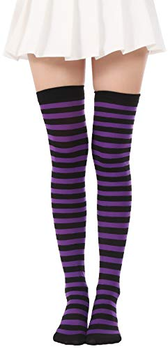 Over Knee Long Striped Stockings Saint Patrick's Day Socks Costume Thigh High Tights(01 Purple Black Tights) ()