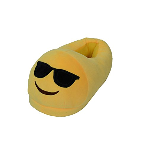 LUOEM Non Slip Winter House Slippers Soft Plush Slippers 28.5cm (Funny Yellow Smiley Face With Sunglasses)