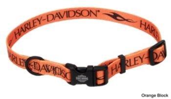 Harley Nylon Dog Collar Medium Orange Block