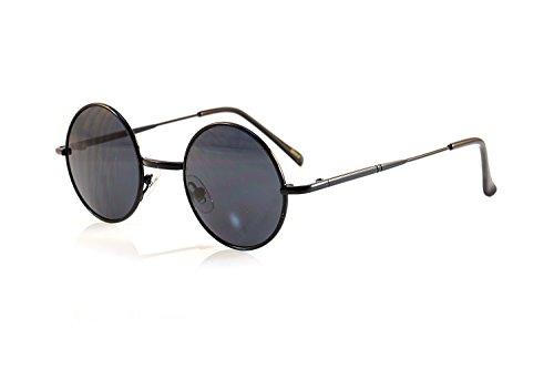6471da6e48 FBL John Lennon Retro Small Hippie Round Smoke Lens Sunglasses A073 (Black   Black SD