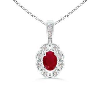 Angara Oval Diamond Ruby Pendant in Platinum - July Birthstone Pendant kK5CfE