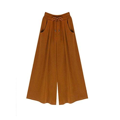 Pocciol Women Loose Leggings, Long Palazzo Harem Pants Drawstring Fashion Wide Leg Pants (3XL, Yellow) by Pocciol