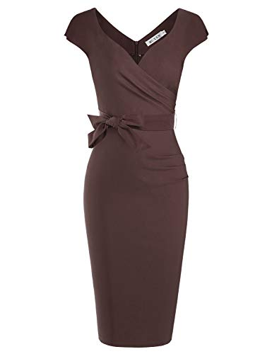 MUXXN Celebrity Pinup 60s Cap Sleeve Bowknot Tie Juniors Graduation Bodycon Dress (Brown XXL)