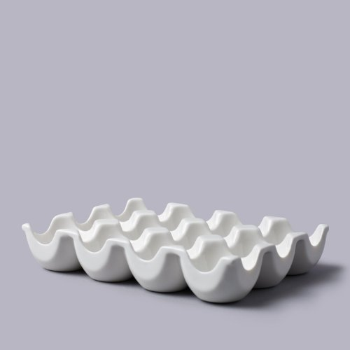 WM Bartleet & Sons 1750 Traditional Porcelain 12 Eggs Storage Box/Tray for The Fridge or Kitchen Worktop - White, Slots