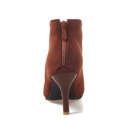 Brown Women Bootie Zipper Dress Coolcept Boots Fashion YpRT4O4