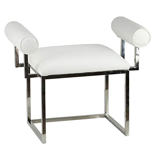Cortesi Home Shakira Accent Stool in White Faux Leather with Padded Arms, 24