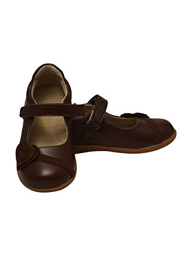 L'Amour Girls Brown Heart Applique Hook-and-Loop Mary Jane Shoes 13 Kids