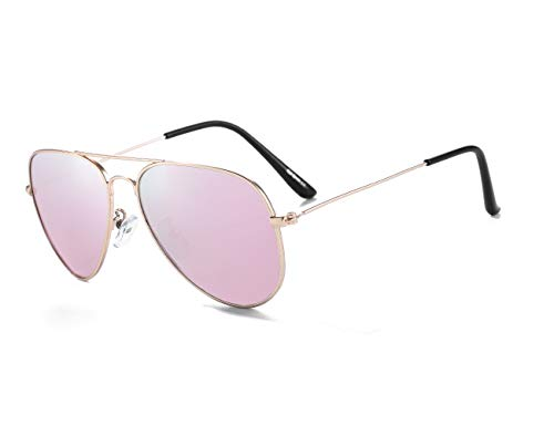 Kids Polarized Sunglasses Aviator for Boys Girls with Case UVB Youth Eyewear Age 5-12, 52MM (Gold/Sakura pink)