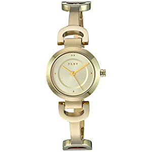 DKNY Women's City Link Three-Hand Stainless Steel Watch with Pave Crystals