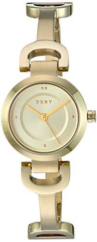 (DKNY Women's City Link Quartz Watch with Stainless-Steel-Plated Strap, Gold, 13.9 (Model: NY2750))