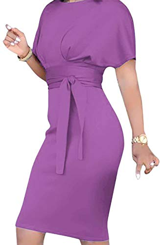 Belt Molisry Women's Pencil Bodycon Retro Wear Purple Business to Sleeve Short Dress Work with 47Z4WHq