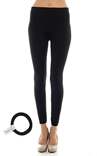 High Waist Fleece Lined Leggings with EttelLut Hair Band BLACK PS (L/s Spec Shirt)