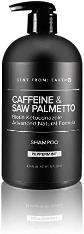 [Sent From Earth] Caffeine & Saw Palmetto Biotin Ketoconazole 1% Vegan Advanced Natural Formula Peppermint Shampoo 16oz