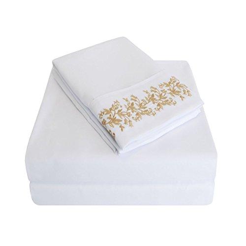 Qualité supérieure Ultra Doux Poids léger résistant aux Rides de Feuille avec Motif Floral Dentelle Broderie taies d'oreiller dans Un Coffret Cadeau, 100% Microfibre brossé, Blanc Or, King, Set de 4