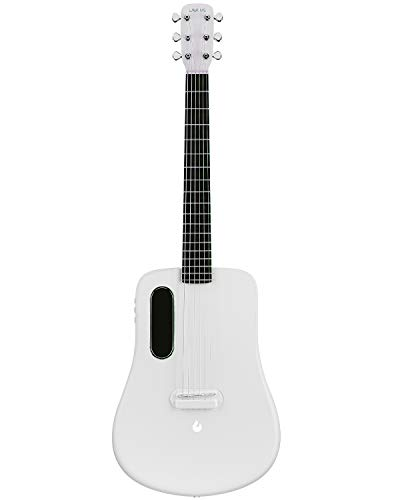Traveler Guitar, Dreadnought Acoustic Guitar, Natural 6 String Classical Electric Guitar, Advanced Carbon Fiber Guitar by LAVA ME 2 (Freeboost-White)