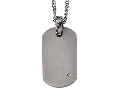 Mens Titanium Dog Tag Pendant Necklace with Diamond Accent and Chain