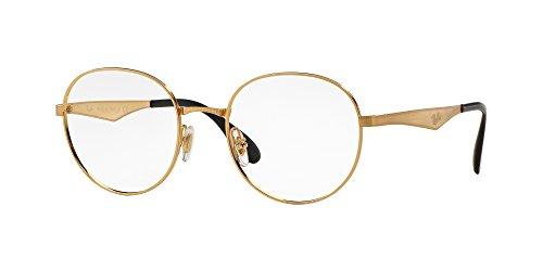 Ray-Ban RX6343 - 2860 Eyeglasses,Gold Frame 47mm w/ Clear Demo Lens  (Eyeglass Frames Custom)