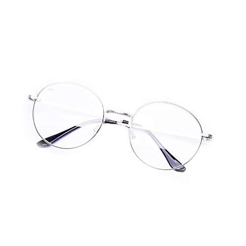 Hommes Frame Tatkldisu Femmes Lunettes Fausses color Élégantes Gun Unisex De Vue Round Eyewear color Sans Silver Pour Fashion 00xOq7w