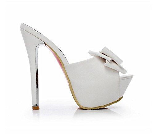Douce Chaussure Mince Chaussures DANDANJIE Unique L'Eau Bow Poissons Grand Super Bouche Heel Pantoufles Blanc à Femmes Imperméable Slender Été ZqwOfqxa
