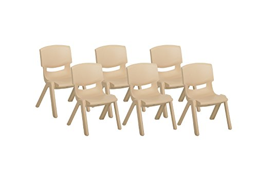 k Resin Chair, Indoor/Outdoor Plastic Stacking Chairs for Kids, 14 inch Seat Height, Sand (6-Pack) ()