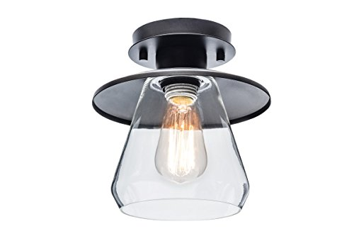 """Globe Electric 64846 Nate Light Semi-Flush Mount, Oil Rubbed Bronze with Clear Glass Shade, 8"""""""