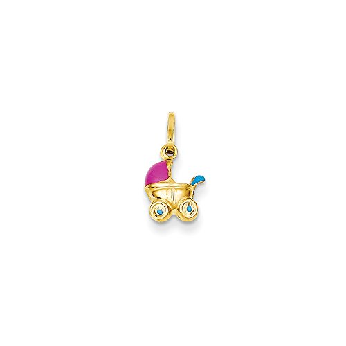 14K Yellow Gold 3D Baby Carriage Charm Pendant
