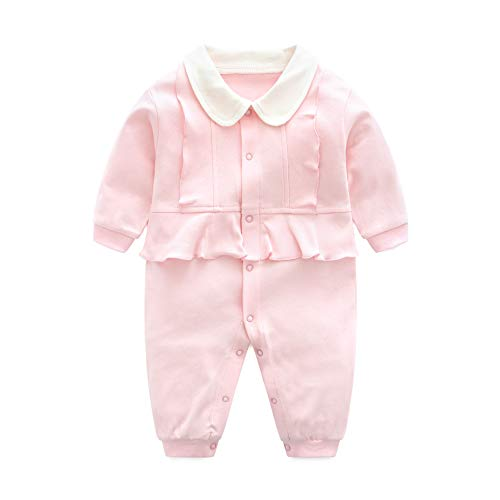 eb519a57930ed Mum nny ベビーカバーオール ロンパース 女の子 ピンク 長袖 前開き 新生児服 出産祝い 59cm