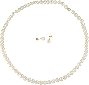 Vp Jewels 18K Solid Gold 5-6mm White Pearl Classic Strung Necklace with 18K Solid Gold 5-6mm Pearl Earrings