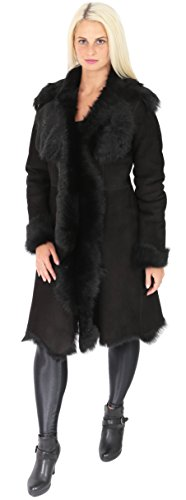 Shearling Manteau Super Peau En Femmes Veste Véritable Luxe Toscana Pamela Daim De Mouton Finition Long Noir dqwvt7vx