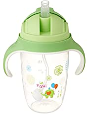 كوب زجاجي بشفاطة علوية للاطفال من ليتل فيش، 300 مل - بينك