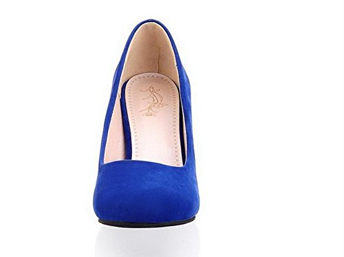 VogueZone009 Women's Kitten-Heels Solid Pull-On Round-Toe Pumps-Shoes Blue STnEmuPA