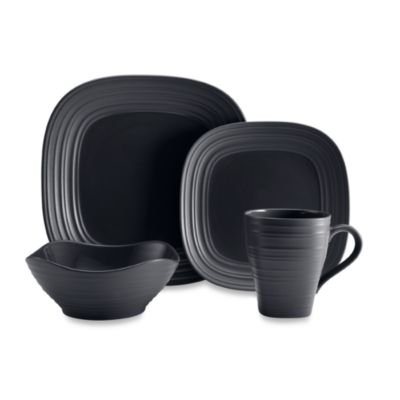 - Mikasa Swirl Square 4-Piece Place Setting in Graphite