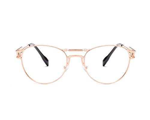 Keephen Or en Jambe Retro Rose Non Transparent Lens Frame Nouvelle Metal Spring polarized Steampunk Sunglasses Miroir q6wgrq
