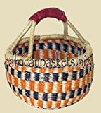 Bolga Baskets International Small Market Basket w/ Leather Wrapped Handle (Colors Vary)