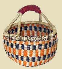 Bolga Baskets International Small Market Basket w/ Leather Wrapped Handle (Colors Vary) by Bolga Baskets International