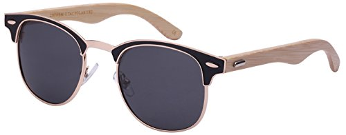 Edge I-Wear Bamboo Wood Optical Quality P3 Horned Rim Sunglasses w/Polarized Lens 25039BMO-P-1(G+BLK) (Wayfair Qualität)