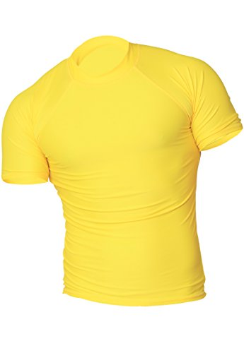 INGEAR Rash Guard UV Sun Protection Basic Short Sleeve Sport Beach Surf Shirt (Medium, (Yellow Mens Rash Guard)