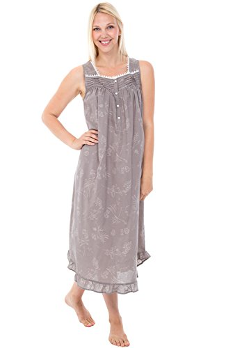 Alexander Del Rossa Womens 100% Cotton Lawn Nightgown, Long Sleeveless Chemise, Small Floral Chambray (A0581V86SM) - Long Lightweight 100% Cotton