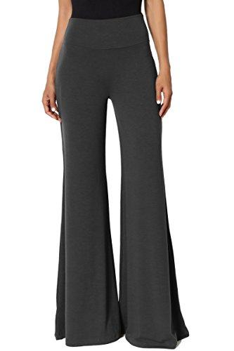 (TheMogan Women's Comfy Soft High Waisted Wide Palazzo Lounge Pants Ash Grey L)