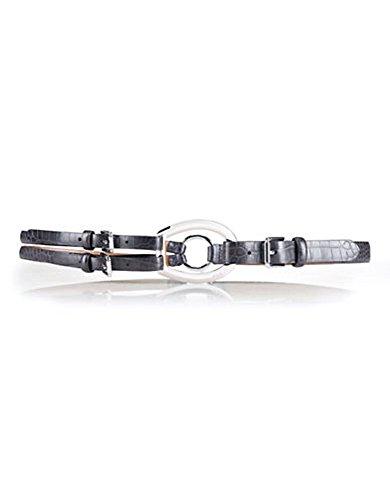 Lauren Ralph Lauren Tri-strap Croc Belt Charcoal L (Ralph Lauren Croc)