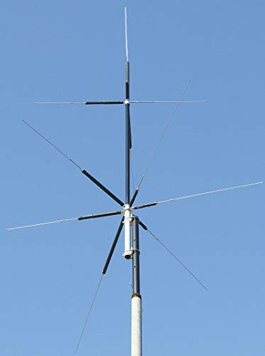 MFJ-2389 Compact 8-Band (80, 40, 20, 15, 10, 6, 2M & 70CM) Vertical HF/VHF/UHF Antenna - Handles 200W PEP (Best Vertical Antenna Counterpoise)