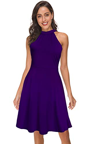 FANVOOK Midi Tank Dress, Skater Dresses for Juniors Casual Sundress with Pockets Solid Colors Purple, Large